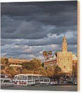 City Of Seville At Sunset Wood Print