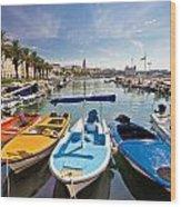 City Of Split Colorful Harbor View Wood Print