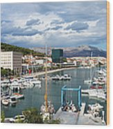 City Of Split Port In Croatia Wood Print
