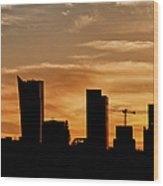 City Of Warsaw Skyline Silhouette Wood Print