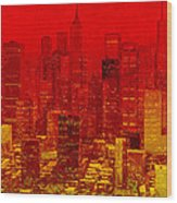 City On Fire Wood Print