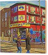 City Paint Benjamin Moore Rue Rachel And Hotel And De Ville Montreals Oldest Paint Store  C Spandau  Wood Print