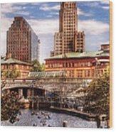 City - Providence Ri - The Skyline Wood Print by Mike Savad