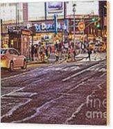City Scene - Crossing The Street - The Lights Of New York Wood Print