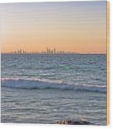 City Skyline And Flowing Water Wood Print