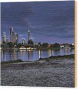 City Skyline At Night Wood Print