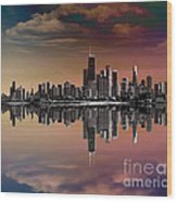City Skyline Dusk Wood Print by Bedros Awak