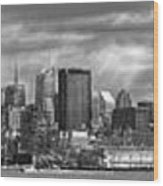City - Skyline - Hoboken Nj - The Ever Changing Skyline - Bw Wood Print by Mike Savad