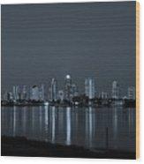 City Skyline Monochrome Wood Print