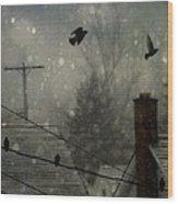 City Snow Wood Print
