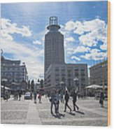 City Square In Stockholm Wood Print