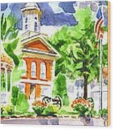 City Square In Watercolor Wood Print