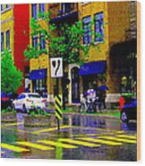 City Street Relections In The Rain Quebec Art Colors And Seasons Montreal Scenes Carole Spandau Wood Print
