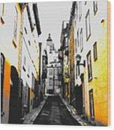 City Street Scene Black And Yellow Photograph Wood Print