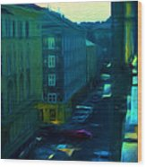City Streets Digital Painting Wood Print