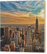 City Sunset New York City Usa Wood Print by Sabine Jacobs