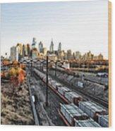 City Up The Tracks Wood Print