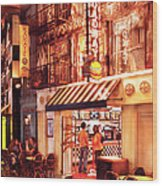 City - Vegas - Ny - Broadway Burger Wood Print by Mike Savad
