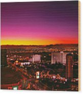 City - Vegas - Ny - Sunrise Over The City Wood Print by Mike Savad