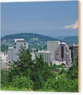 City With Mt. Hood In The Background Wood Print