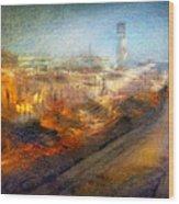Cityscape #17 - Redpolis Wood Print