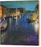 Cityscape #19. Venetian Night Wood Print