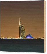 Cityscape At Night, Burj Al Arab Hotel Wood Print