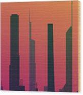 Cityscape Design Orange Version | Eps10 Wood Print