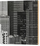 Cityscape In Black And White Wood Print