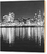 Cityscape In Black And White - Philadelphia Wood Print
