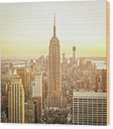 Cityscape Manhattan Sunset New York Wood Print