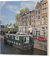 Cityscape Of Amsterdam Wood Print
