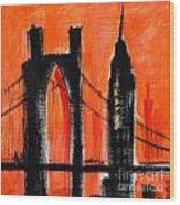 Cityscape Orange Wood Print