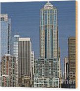 Cityscape Seattle Wood Print