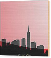 Cityscapes- New York City Skyline In Black On Red Wood Print