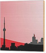 Cityscapes - Toronto Skyline In Black On Red Wood Print