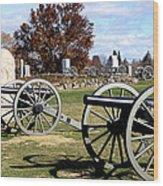 Civil War Cannons At Gettysburg National Battlefield Wood Print by Brendan Reals