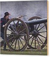 Civil War Reenactor Firing A Revolver Wood Print