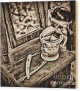 Civil War Shaving Mug And Razor Black And White Wood Print
