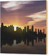 Calgary Sunset Skyline  Wood Print