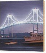 Claiborne Pell Bridge At Night Wood Print