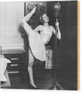 Clair Luce Exercising On Radio Wood Print