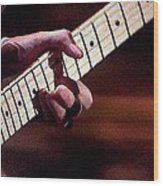 Clapton Playing Guitar - Watercolor Painting Wood Print