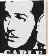 Clark Gable Black And White Pop Art Wood Print