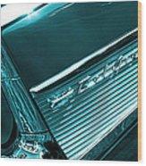 Classic '57 Teal And Chrome Wood Print