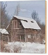 Classic Barn In Snow Wood Print