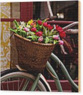 Classic Bicycle With Tulips Wood Print