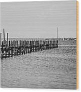 Classic Black And White Pier Scene Wood Print