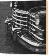 Classic Cadillac Sedan Black And White Wood Print