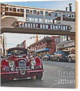 Classic Cannery Row - Monterey California With A Vintage Red Car. Wood Print